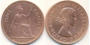 1 Пені Велика Британія (1922-) Бронза Єлизавета II (1926-)