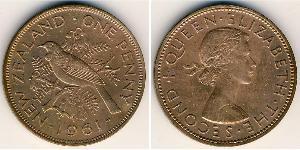 1 Пені Нова Зеландія Бронза Єлизавета II (1926-)