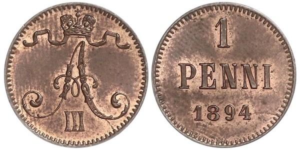 1 Пені Велике князівство Фінляндське (1809 - 1917) Мідь Олександр III (1845 -1894)