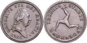 1 Пені Острів Мен Мідь Георг III (1738-1820)