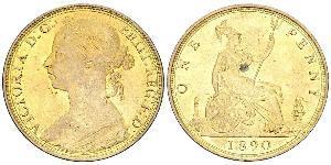 1 Пені Сполучене королівство Великобританії та Ірландії (1801-1922) Мідь Вікторія (1819 - 1901)