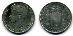 1 Песета Королевство Испания (1874 - 1931) Серебро Alfonso XIII of Spain (1886 - 1941)
