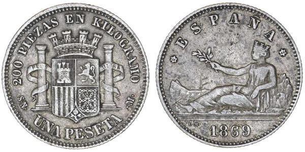 1 Песета Первая Испанская Республика (1873 - 1874) Серебро