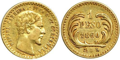 1 Песо Республіка Ґватемала (1838 - ) Золото Рафаель Каррера