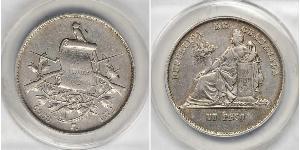 1 Песо Республика Гватемала (1838 - ) Серебро
