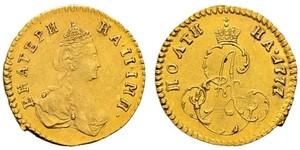 1 Полтина / 1/2 Рубль Российская империя (1720-1917) Золото Екатерина II (1729-1796)