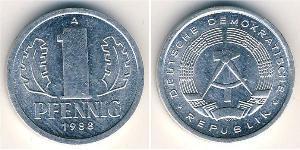 1 Пфенниг Германская Демократическая Республика (1949-1990) Алюминий