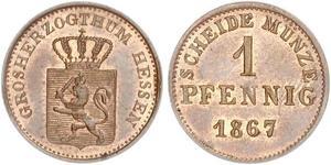 1 Пфенниг Великое герцогство Гессен (1806 - 1918) Медь Людвиг III (великий герцог Гессенский)