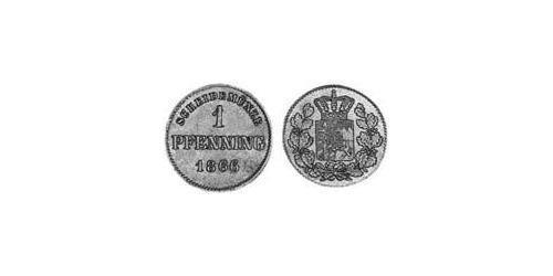 1 Пфенниг Королевство Бавария (1806 - 1918) Медь Максимилиан II (король Баварии)(1811 - 1864)