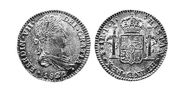 1 Реал Рио-де-ла-Плата (вице-королевство) (1776 - 1814) / Боливия Серебро Фердинанд VII король Испании (1784-1833)