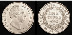 1 Рупия Британская Индия (1858-1947) Серебро Вильгельм IV (1765-1837)