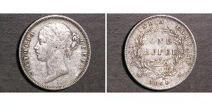 1 Рупия Британская Ост-Индская компания (1757-1858) Серебро Виктория (1819 - 1901)