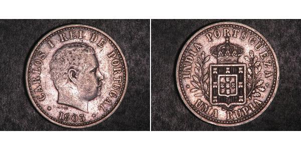1 Рупия Португальская Индия (1510-1961) Серебро Карлуш I король Португалии(1863-1908)
