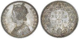 1 Рупія Британська Індія (1858-1947) Срібло Вікторія (1819 - 1901)