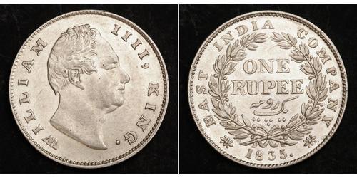 1 Рупія Британська Індія (1858-1947) Срібло Вільгельм IV (1765-1837)