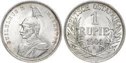 1 Рупія Німецька Східна Африка (1885-1919) Срібло Wilhelm II, German Emperor (1859-1941)