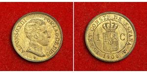 1 Сентимо Королевство Испания (1874 - 1931) Бронза Alfonso XIII of Spain (1886 - 1941)