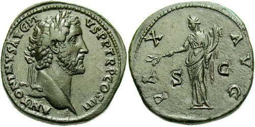 1 Сестерций Римская империя (27BC-395) Бронза Антонин Пий  (86-161)