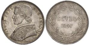 1 Скудо Папська держава (752-1870)  Пій IX (1792- 1878)