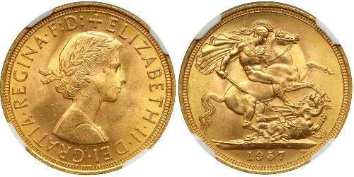 1 Соверен Велика Британія (1922-) Золото Єлизавета II (1926-)