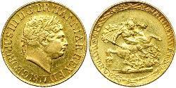 1 Соверен Великобритания  / Соединённое королевство Великобритании и Ирландии (1801-1922) Золото Георг III (1738-1820)