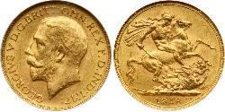 1 Соверен Соединённое королевство Великобритании и Ирландии (1801-1922) Золото Георг V (1865-1936)