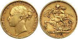 1 Соверен Соединённое королевство Великобритании и Ирландии (1801-1922) Золото Виктория (1819 - 1901)