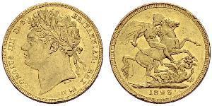 1 Соверен Соединённое королевство Великобритании и Ирландии (1801-1922) Золото Георг IV (1762-1830)