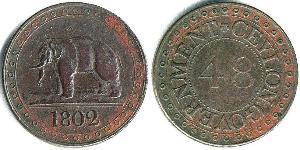 1 Стивер Шри Ланка/Цейлон / Королевство Великобритания (1707-1801) / Соединённое королевство Великобритании и Ирландии (1801-1922) Медь
