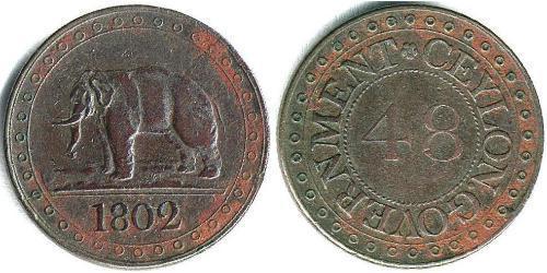 1 Стівер Шрі Ланка/Цейлон / Сполучене королівство Великобританії та Ірландії (1801-1922) / Королівство Великобританія (1707-1801) Мідь