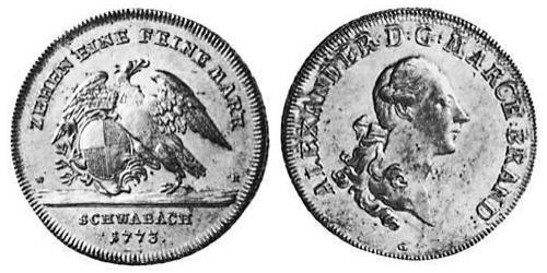 1 Талер Ансбах (княжество) (1398–1792) Серебро Charles Alexander, Margrave of Brandenburg-Ansbach (1736 – 1806)