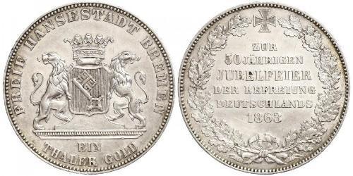 1 Талер Бремен (земля) Серебро