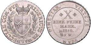 1 Талер Вальдек (1180 - 1918) Серебро