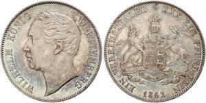 1 Талер Королевство Вюртемберг (1806-1918) Серебро Вильгельм I (король Вюртемберга)