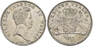 1 Талер Нассау (герцогство) (1806 - 1866) Серебро Вильгельм I (герцог Нассау)