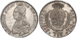 1 Талер Саксония (королевство) (1806 - 1918) Серебро Фридрих Август I (король Саксонии)