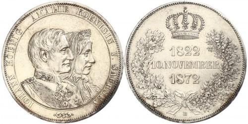 1 Талер Саксония (королевство) (1806 - 1918) Серебро Иоганн (король Саксонии)