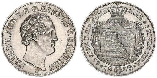 1 Талер Саксония (королевство) (1806 - 1918) Серебро Фридрих Август II (король Саксонии)
