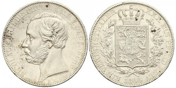 1 Талер Grand Duchy of Oldenburg (1814 - 1918) Серебро Пётр II Ольденбургский (1827 - 1900)