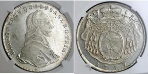 1 Талер Австрія / Зальцбург Срібло Count Hieronymus von Colloredo (1732 - 1812)