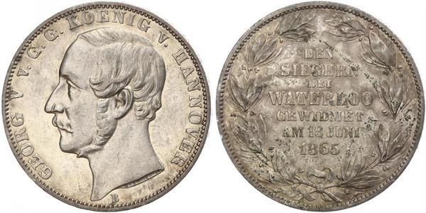 1 Талер Королівство Ганновер (1814 - 1866) Срібло Георг V (король Ганновера) (1819 - 1878)