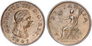 1 Фартинг Соединённое королевство Великобритании и Ирландии (1801-1922) Медь Георг III (1738-1820)