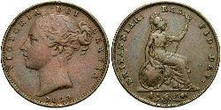 1 Фартінг Сполучене королівство Великобританії та Ірландії (1801-1922) Мідь Вікторія (1819 - 1901)