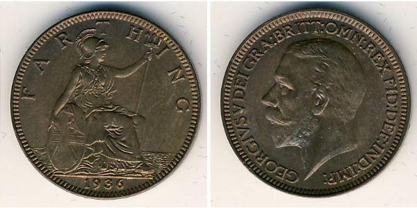1 Фартінг Сполучене королівство Великобританії та Ірландії (1801-1922) Мідь Георг V (1865-1936)