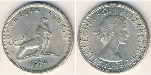 1 Флорин Австралия (1939 - ) Серебро Елизавета II (1926-)