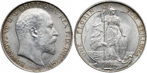 1 Флорін Сполучене королівство Великобританії та Ірландії (1801-1922) Срібло Едвард VII (1841-1910)