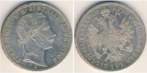 1 Флорін / 1 Гульден Австрійська імперія (1804-1867) Срібло Франц Иосиф I (1830 - 1916)