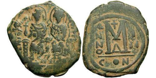 1 Фоллис Византийская империя (330-1453) Бронза Юстин II (520-578)