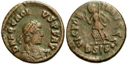 1 Фоллис /  AE4 Византийская империя (330-1453) Бронза Аркадий (377-408)