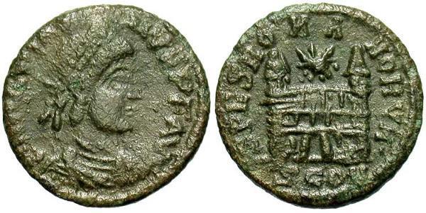 1 Фоллис /  AE4 Западная Римская империя (285-476) Бронза Магн Максим (335-388)